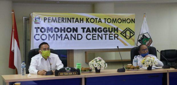 Wali Kota Tomohon Rapat VidCom Dengan Para Camat