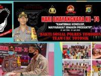 Sambut HUT Bhayangkara ke 74, Polres Tomohon Berbagi Kasih di Panti Asuhan